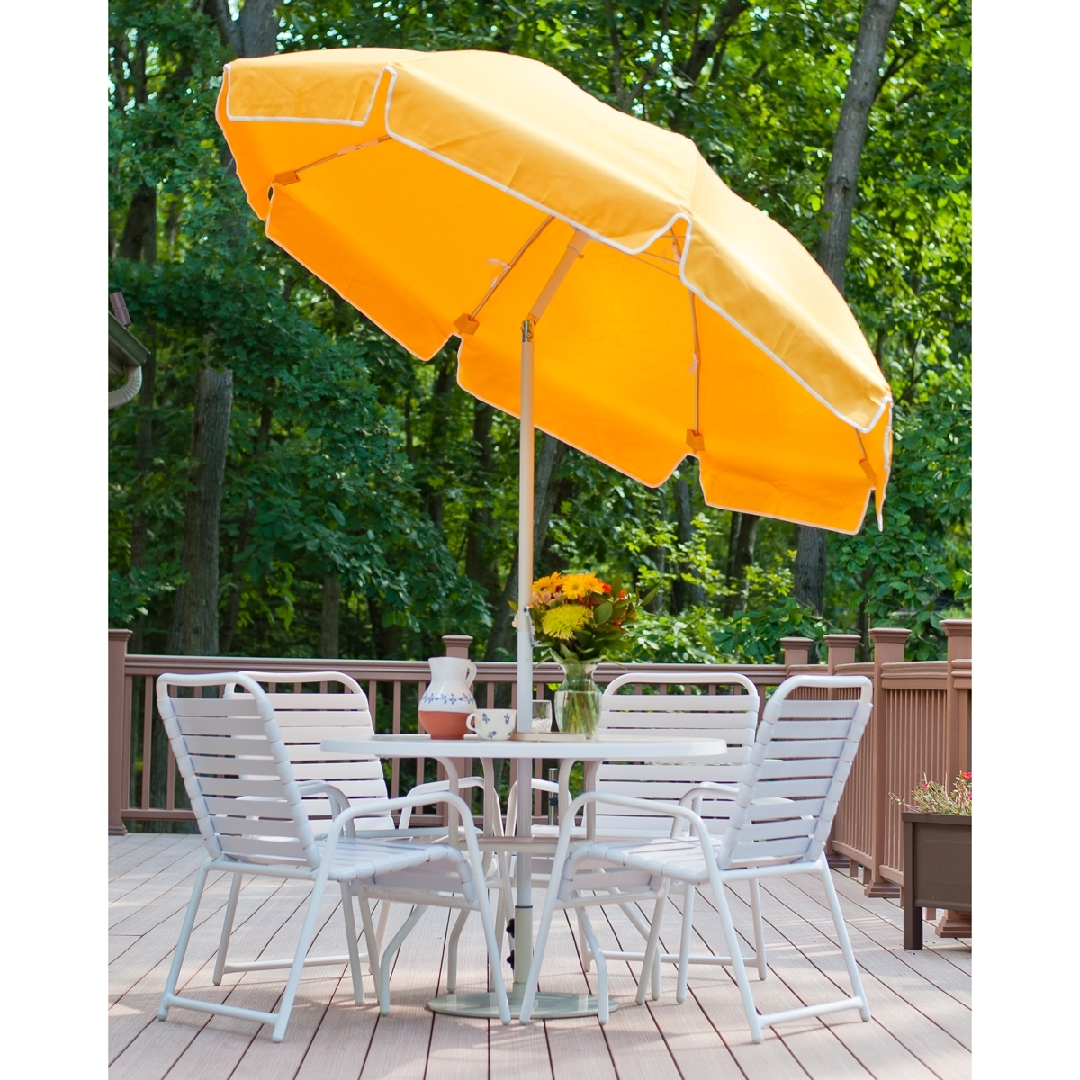 Yellow Patio Umbrellas Regarding Well Liked 7.5 Ft Frankford Acrylic Fiberglass Patio Umbrella With Valance (Gallery 14 of 20)