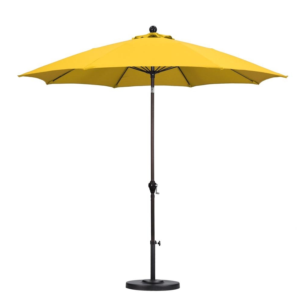 Yellow Sunbrella Patio Umbrellas Inside Best And Newest California Umbrella 9 Ft. Fiberglass Push Tilt Patio Umbrella In (Gallery 1 of 20)