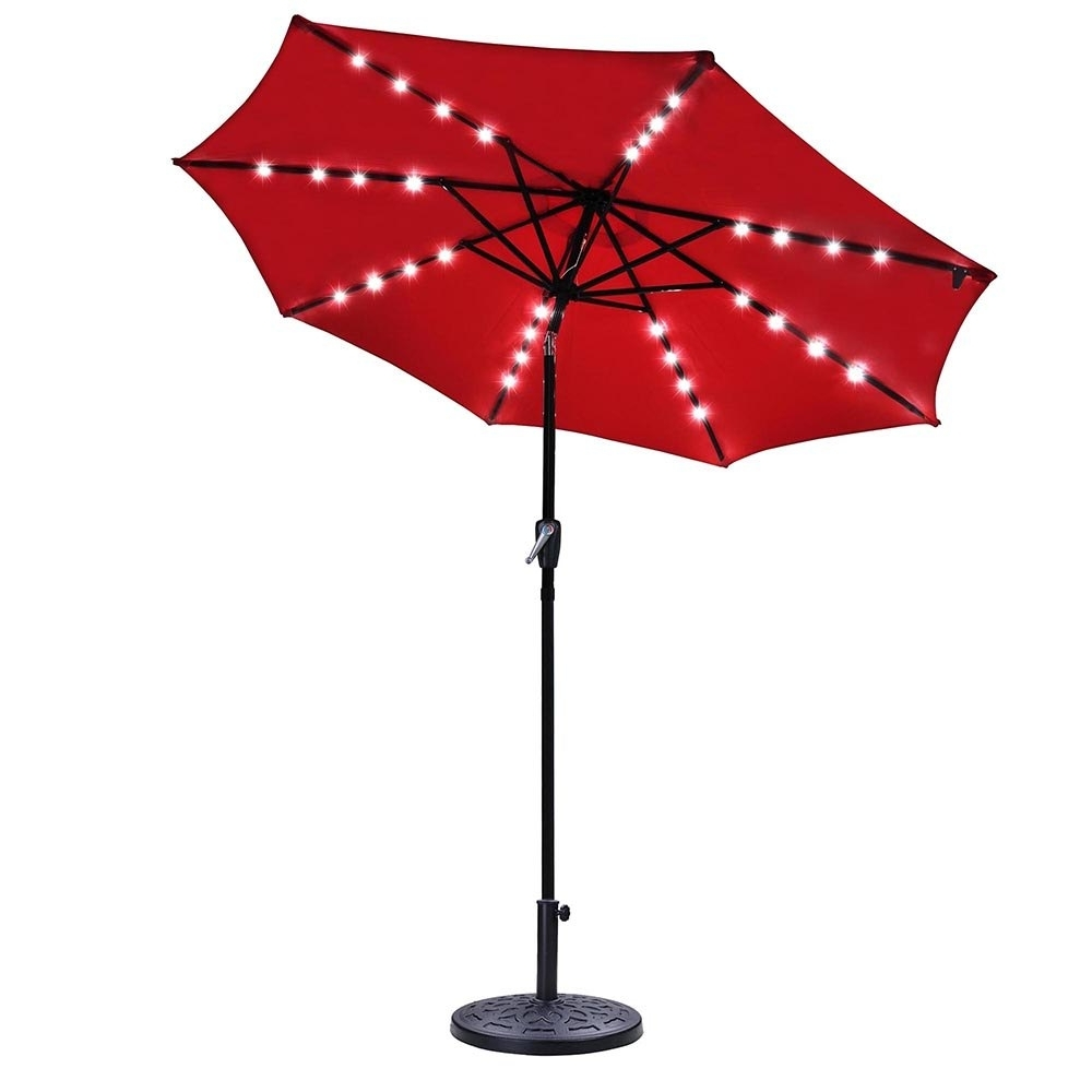 Yescomusa: 9Ft Outdoor Solar Powered Red Patio Umbrella 8 Ribs 32 Inside Current Yescom Patio Umbrellas (Gallery 16 of 20)