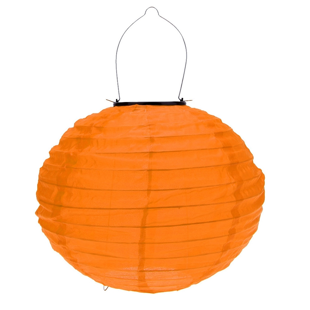 10 Inch Orange Waterproof Solar Lantern Outdoor Garden Led Chinese With Well Known Outdoor Orange Lanterns (View 1 of 20)