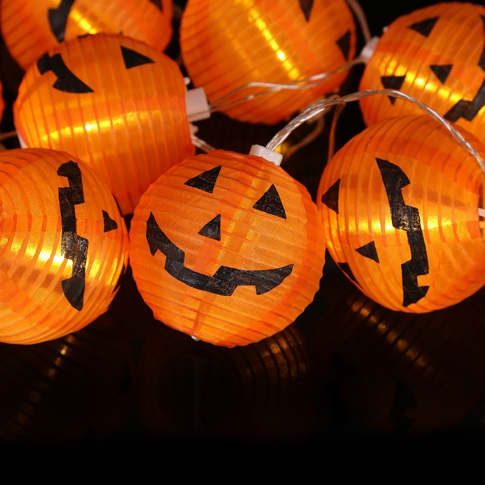 10 Leds Halloween Pumpkin String Lights Orange Paper Holiday Fairy Throughout Recent Outdoor Pumpkin Lanterns (View 5 of 20)