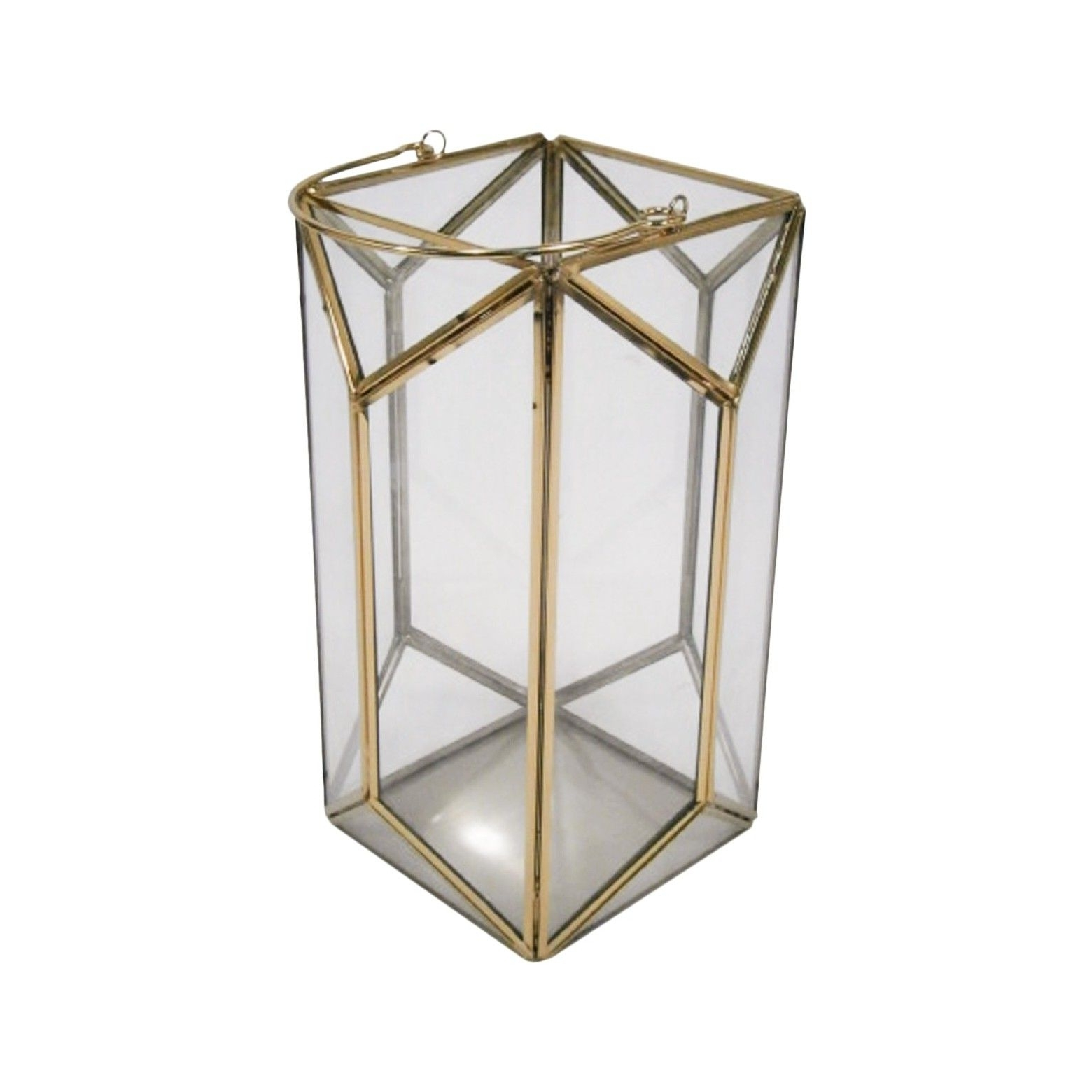 11 Outdoor Lantern Stainless Steel & Glass – Plated Gold – Threshold Pertaining To Well Known Gold Outdoor Lanterns (View 19 of 20)