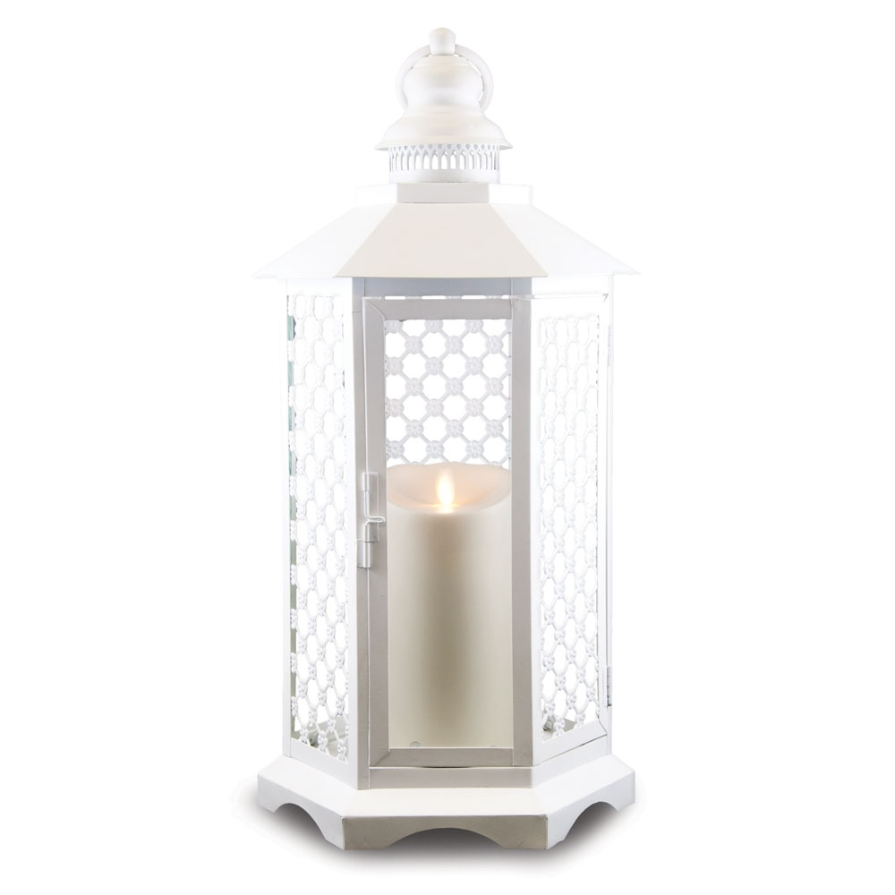 19 Inch Lattice Lantern With Luminara Candle And Timer – White For Famous Outdoor Luminara Lanterns (View 1 of 20)