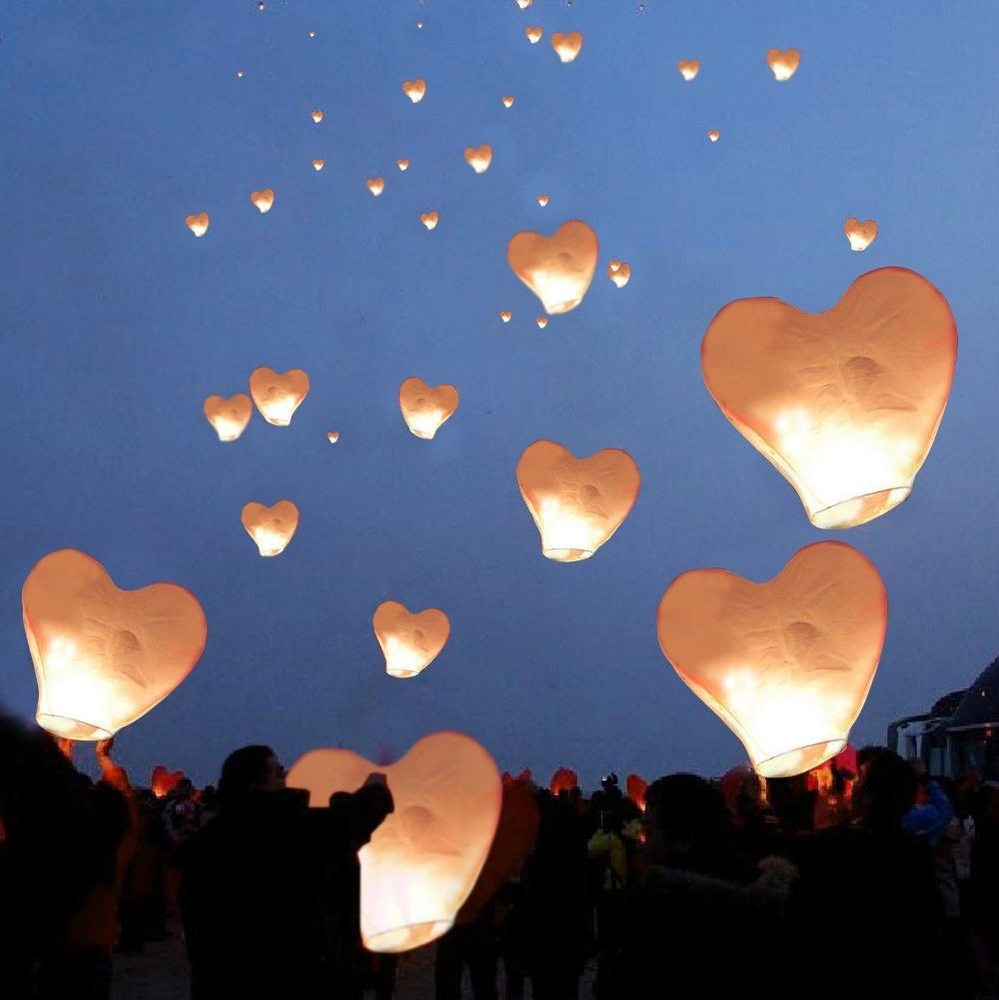 20 White Heart Paper Chinese Lanterns Sky Fly Candle Lamps Wishing Regarding Fashionable Outdoor Memorial Lanterns (View 16 of 20)