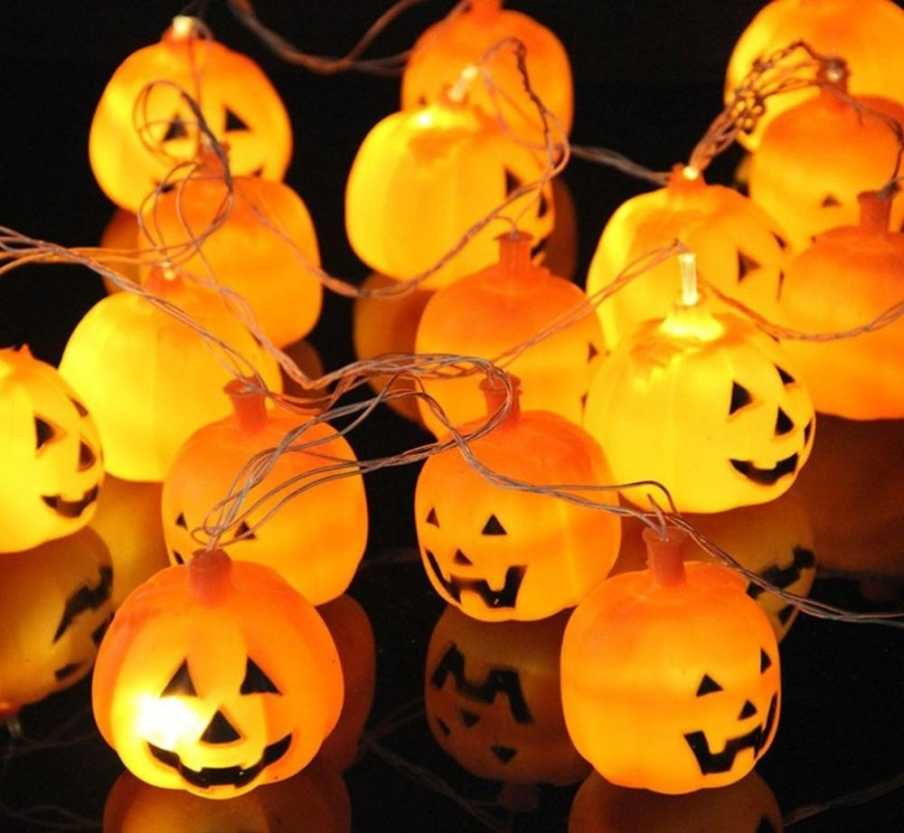 2018 250Cm Hanging Halloween Pumpkin Lantern String Light 16 Leds Pertaining To Favorite Outdoor Pumpkin Lanterns (View 3 of 20)