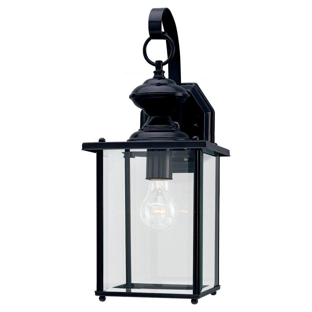 2018 Black Outdoor Lanterns In Sea Gull Lighting Jamestowne 7 In. W 1 Light Black Outdoor Wall (Gallery 11 of 20)