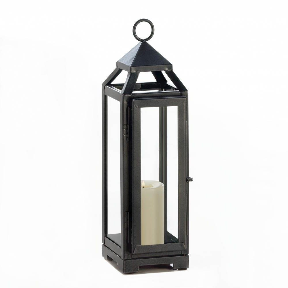 2018 Candle Lantern Decor, Outdoor Rustic Iron Tall Slate Black, Outdoor Throughout Outdoor Lanterns Decors (View 8 of 20)