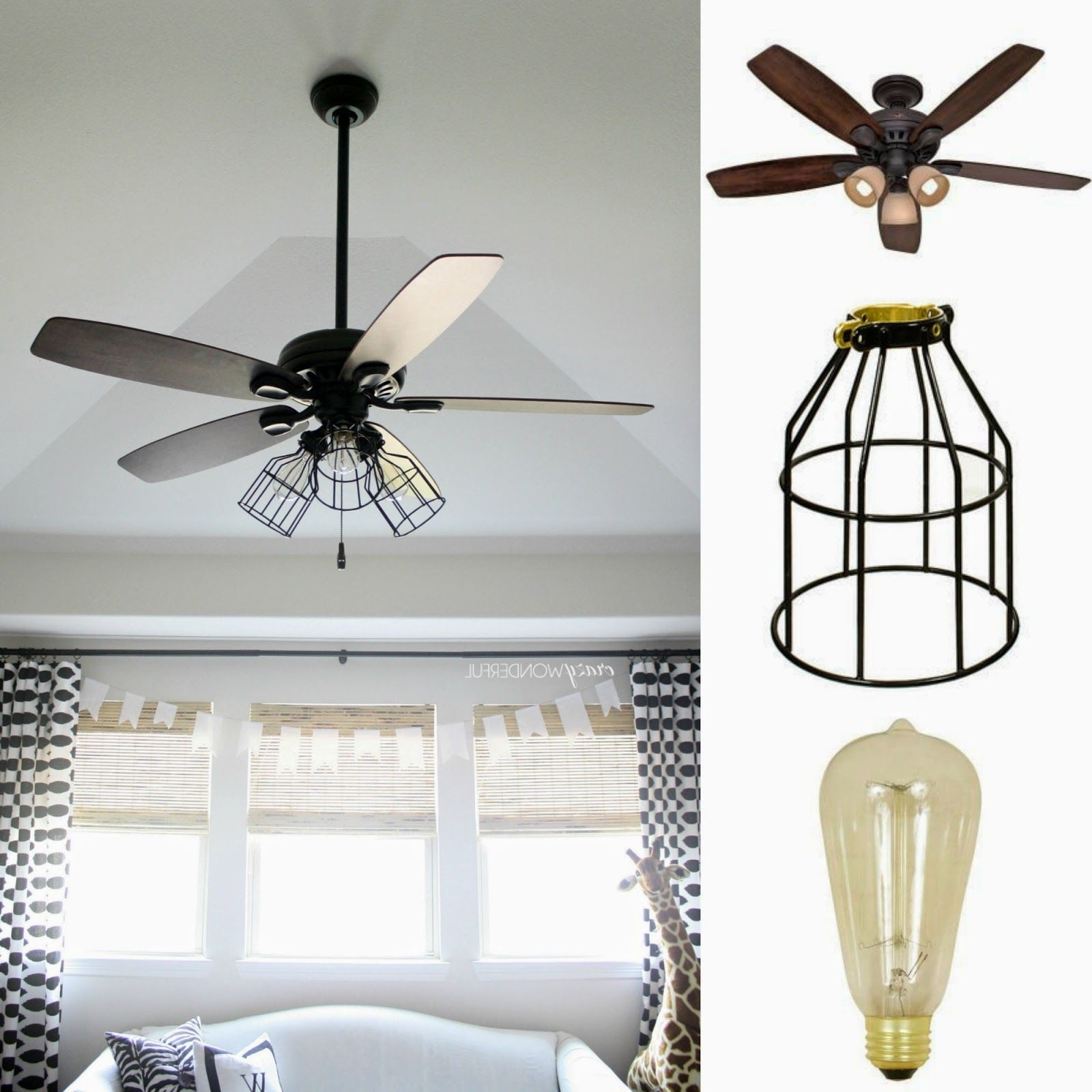 2018 Diy Cage Light Ceiling Fan (View 10 of 20)