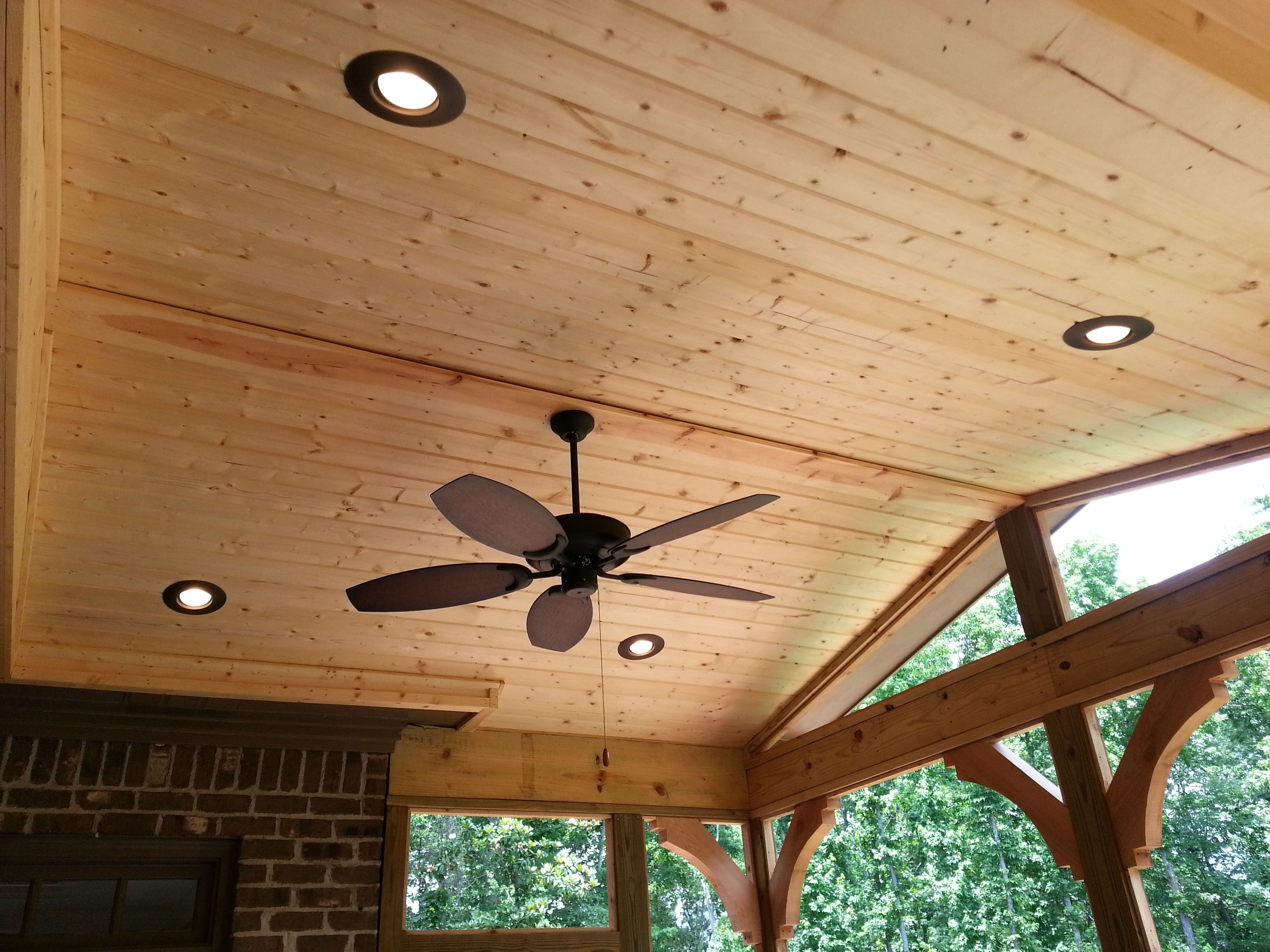 2018 Finished Ceiling With Ceiling Fan And Can Lights – Design Ideas Regarding Outdoor Ceiling Fan Under Deck (Gallery 20 of 20)