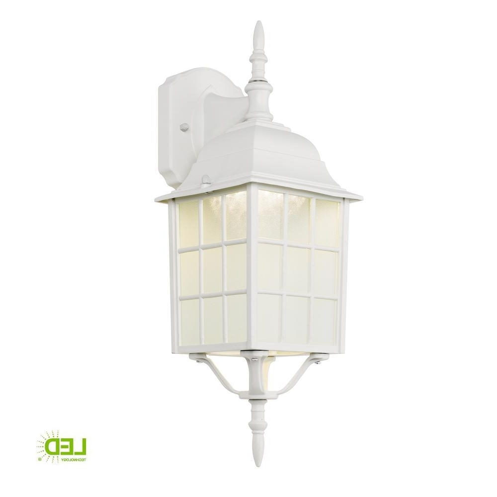 2018 Hampton Bay White Outdoor Led Wall Lantern 4420 1Wht Led – The Home In White Outdoor Lanterns (View 2 of 20)