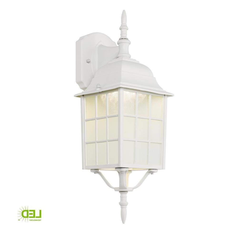 2018 Hampton Bay White Outdoor Led Wall Lantern 4420 1wht Led – The Home In White Outdoor Lanterns (View 5 of 20)