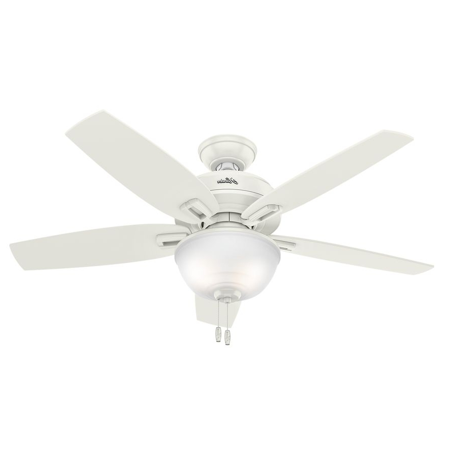 2018 Hunter Wetherby Cove 48 In Fresh White Downrod Or Close Mount Indoor Intended For 48 Outdoor Ceiling Fans With Light Kit (View 1 of 20)