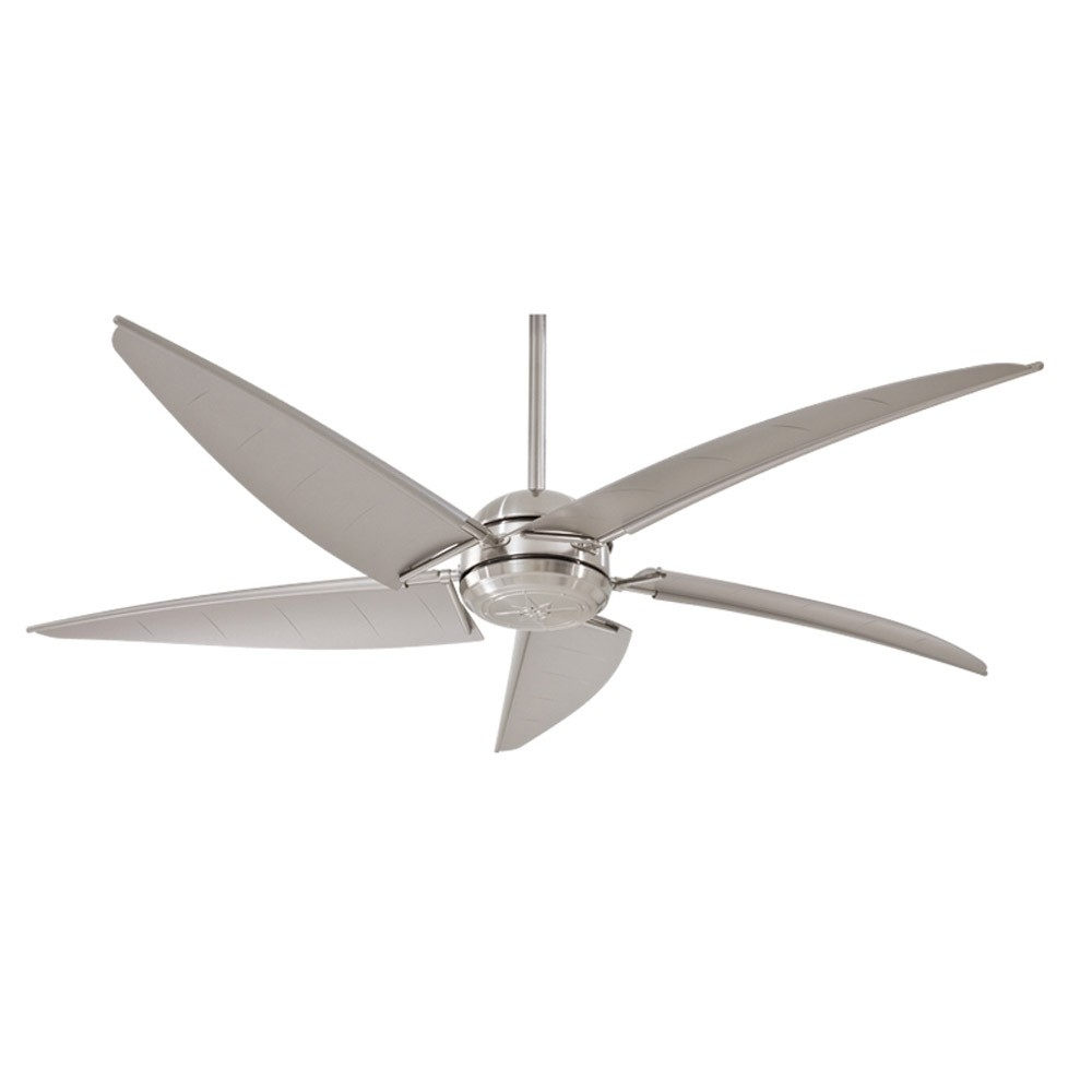 "2018 Minka Aire Magellan F579 L Bnw 60"" Outdoor Ceiling Fan With Light Pertaining To Brushed Nickel Outdoor Ceiling Fans (View 1 of 20)"