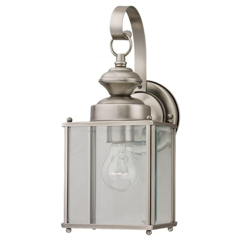 2018 Nickel Outdoor Lanterns With Sea Gull Lighting Jamestowne 1 Light Antique Brushed Nickel Outdoor (View 1 of 20)