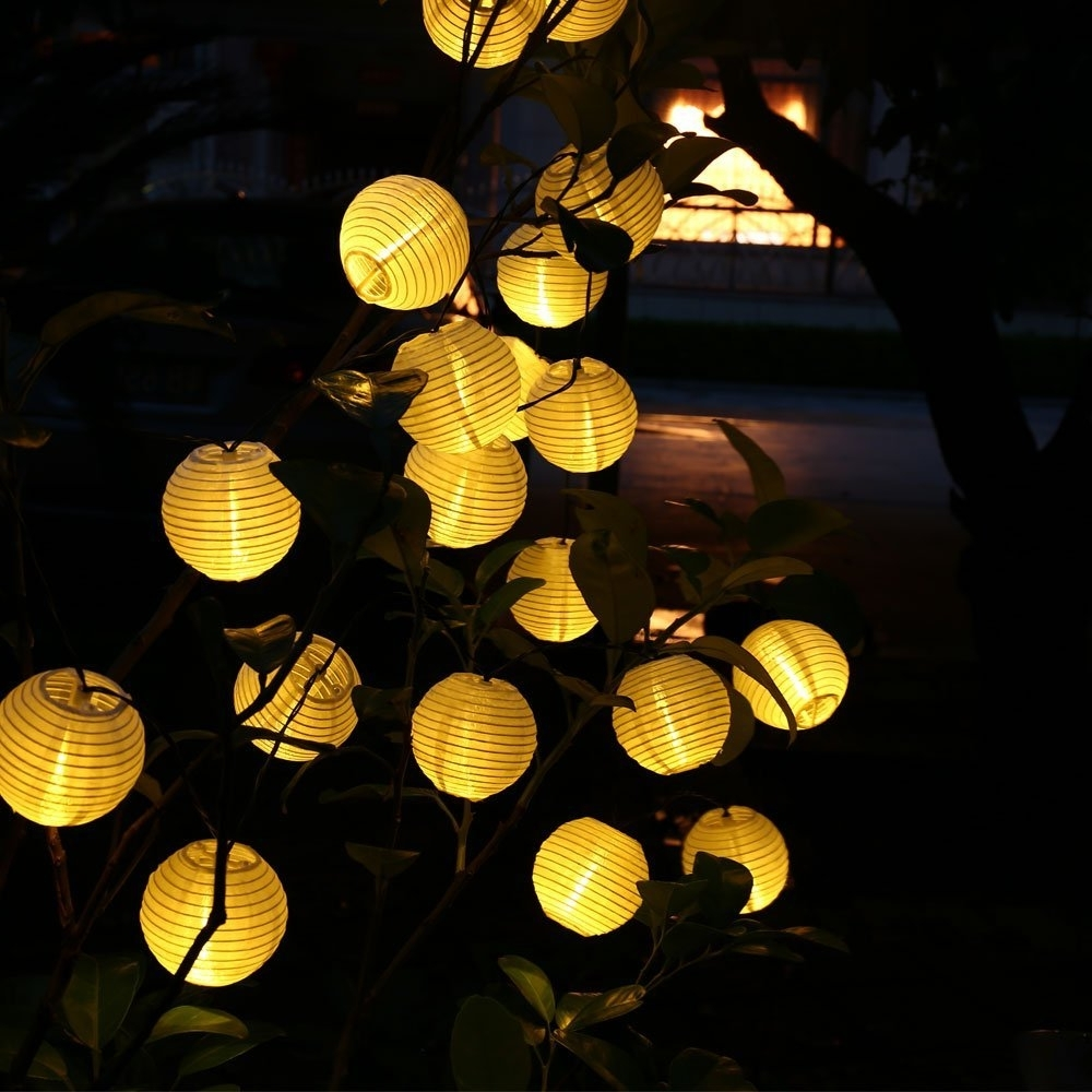 2018 Outdoor Ball Lanterns Throughout 6m 30 Led Outdoor Lighting Lantern Ball Solar String Lights Fairy (View 6 of 20)