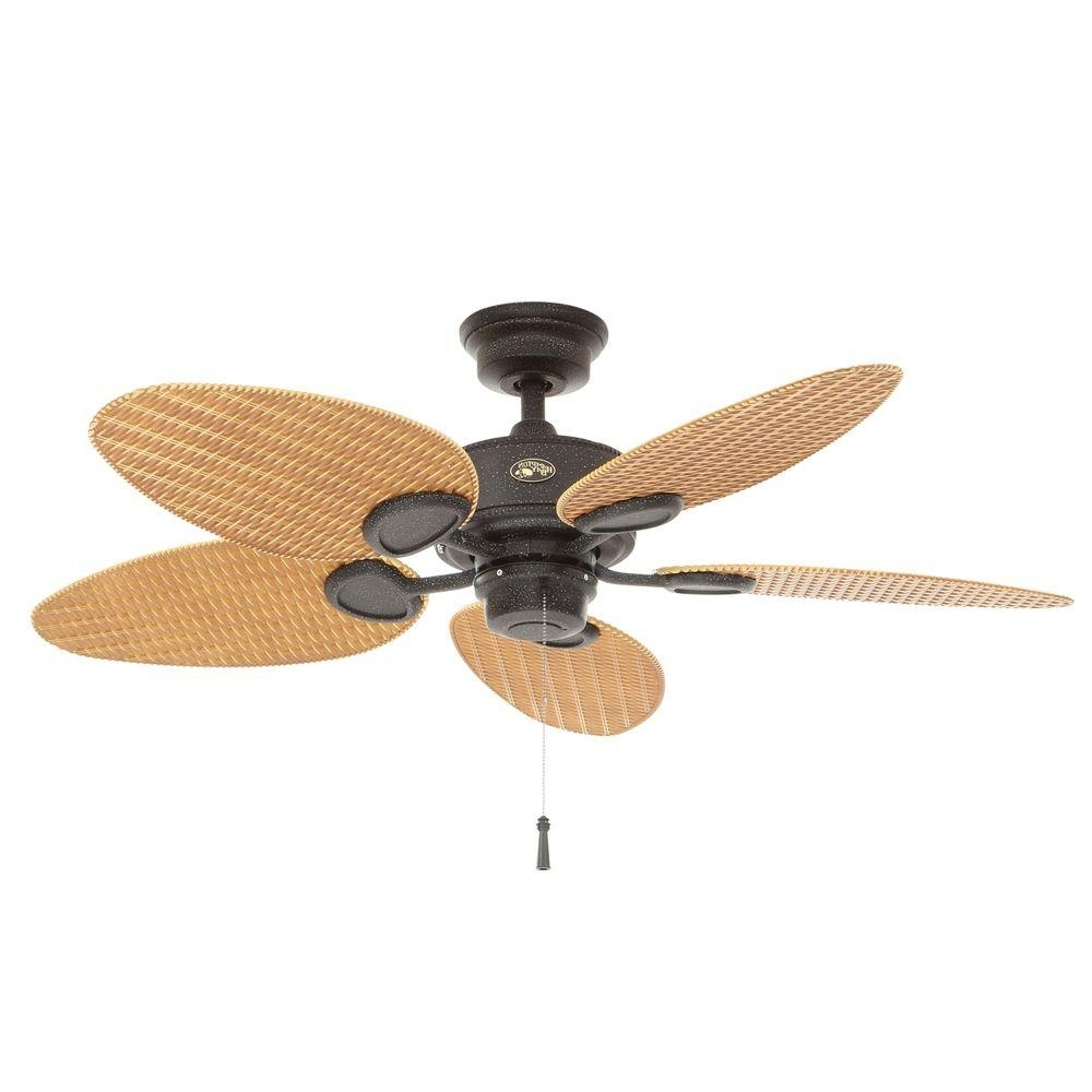 2018 Outdoor Ceiling Fans With Palm Blades In Hampton Bay Palm Beach 48 In. Indoor/outdoor Gilded Iron Ceiling Fan (Gallery 2 of 20)