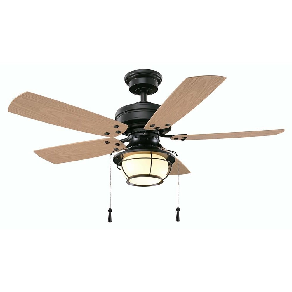 2018 Outdoor Ceiling Fans With Pull Chain Intended For Hampton Bay North Shoreline 46 In. Led Indoor/outdoor Natural Iron (Gallery 1 of 20)