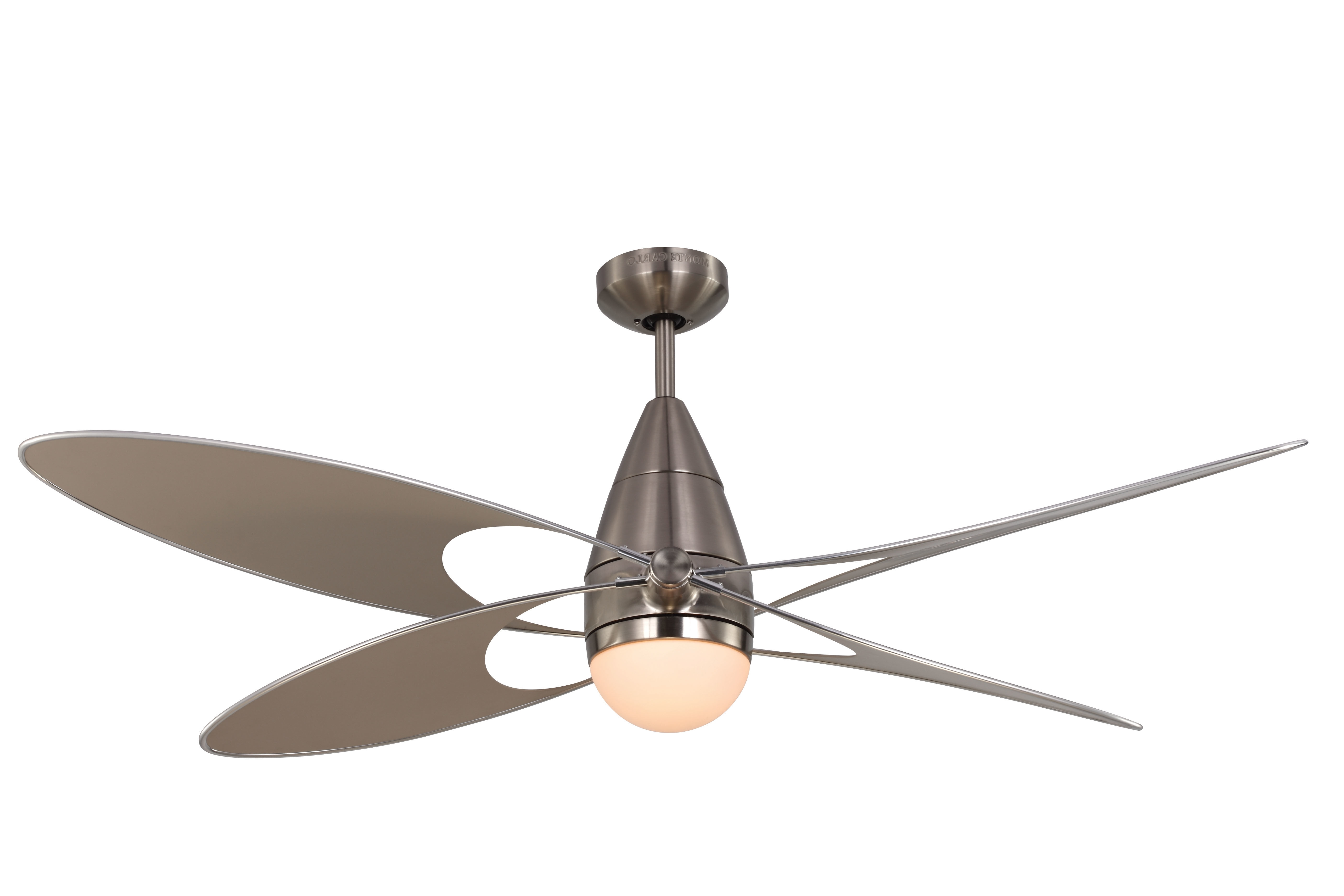 "2018 Outdoor Ceiling Fans With Remote And Light With Regard To Monte Carlo 4Bfr54Bkd Matte Black 4 Bladed 54"" Indoor/outdoor (View 1 of 20)"