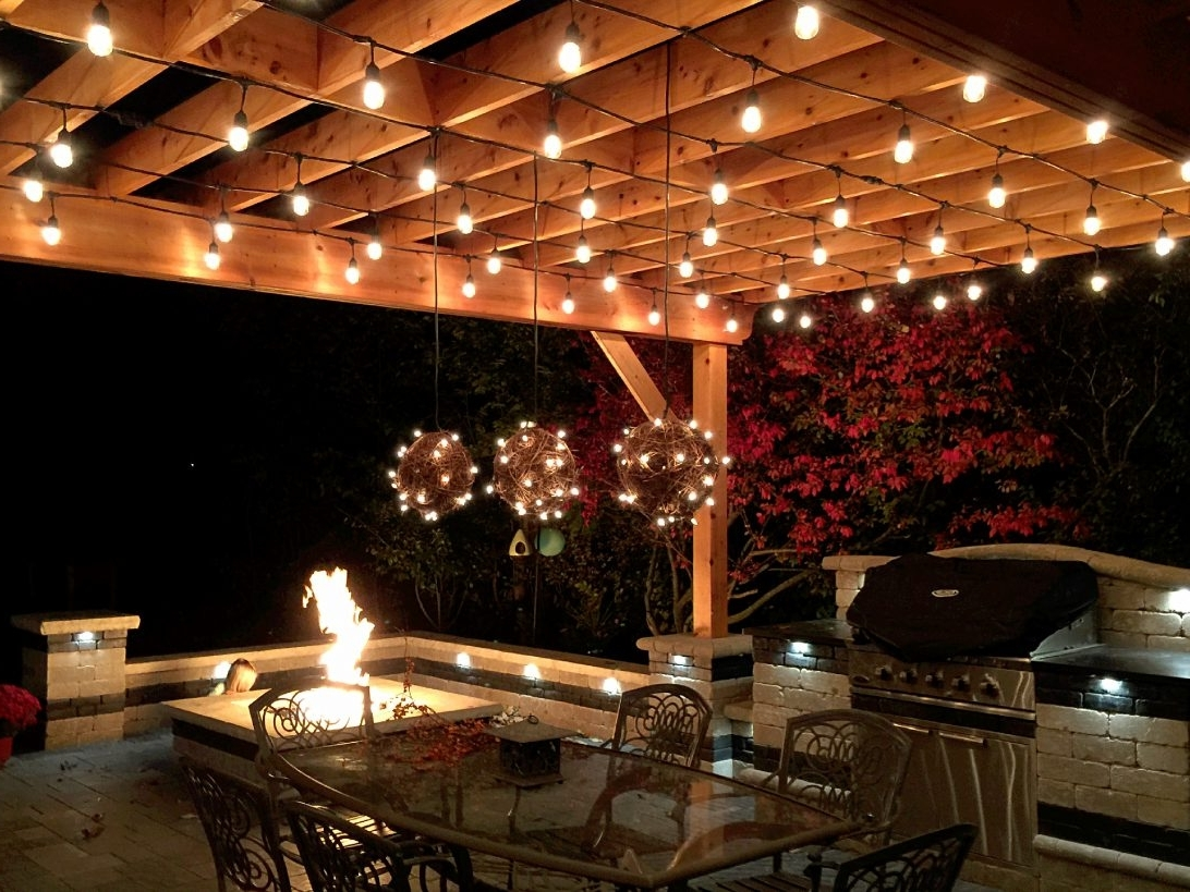 2018 Outdoor Hanging Lanterns For Patio Within Outdoor Hanging Lights For Pergola String Lighting Fixtures Solar (View 14 of 20)