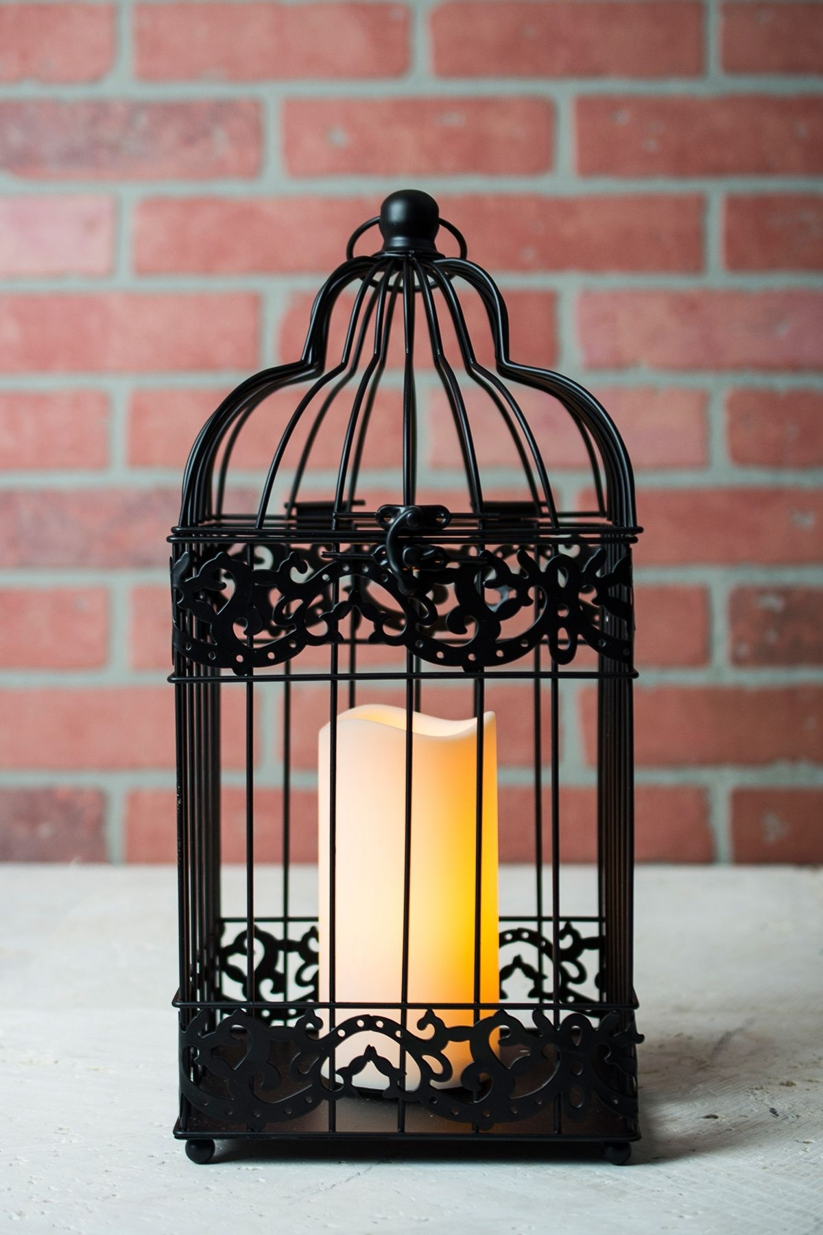2018 Outdoor Lanterns With Battery Operated Candles Throughout Black Bird Cage Candle Lantern Battery Operated 15in (View 20 of 20)