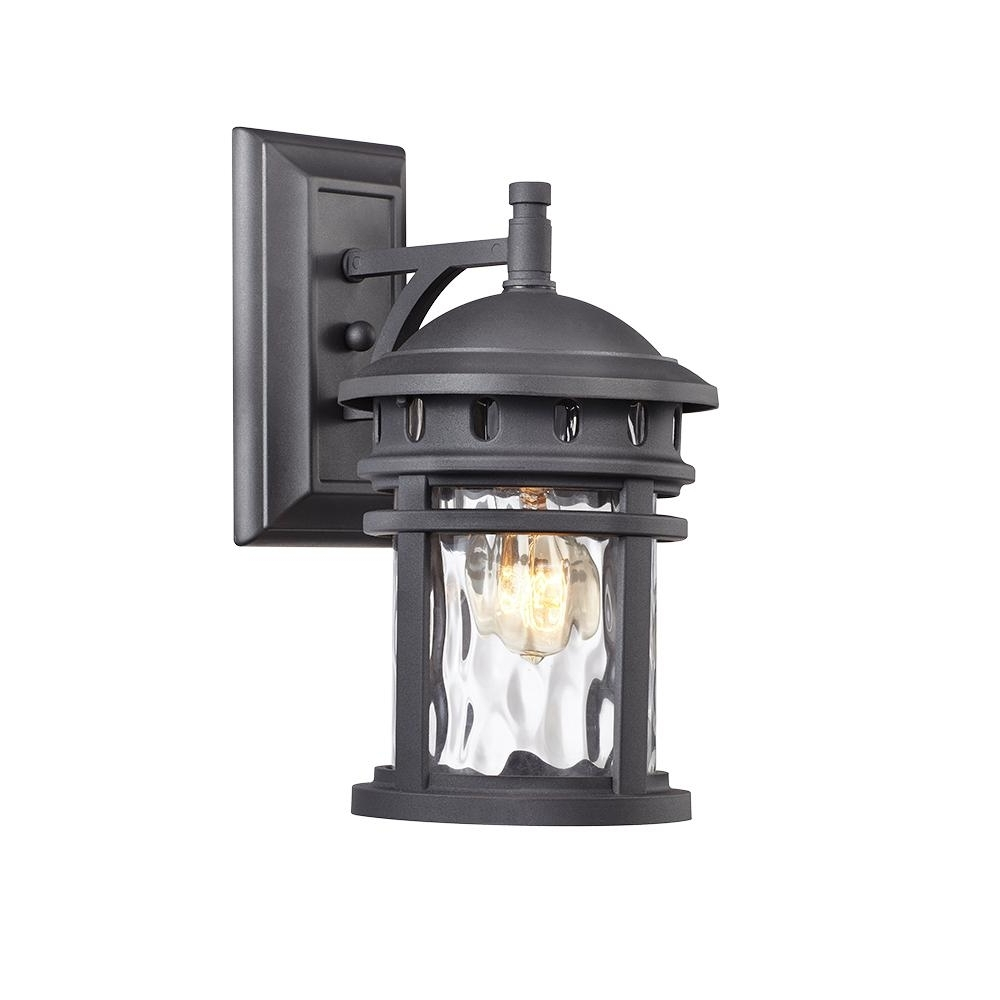 2018 Outdoor Wall Lanterns Regarding Home Decorators Collection 1 Light Black Outdoor Wall Lantern C (View 2 of 20)