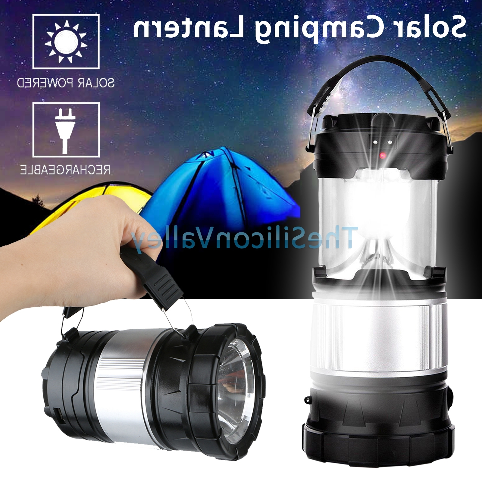 2018 Solar Camping Lantern Lamp Portable Outdoor Rechargeable Led Tent Regarding Outdoor Rechargeable Lanterns (Gallery 10 of 20)