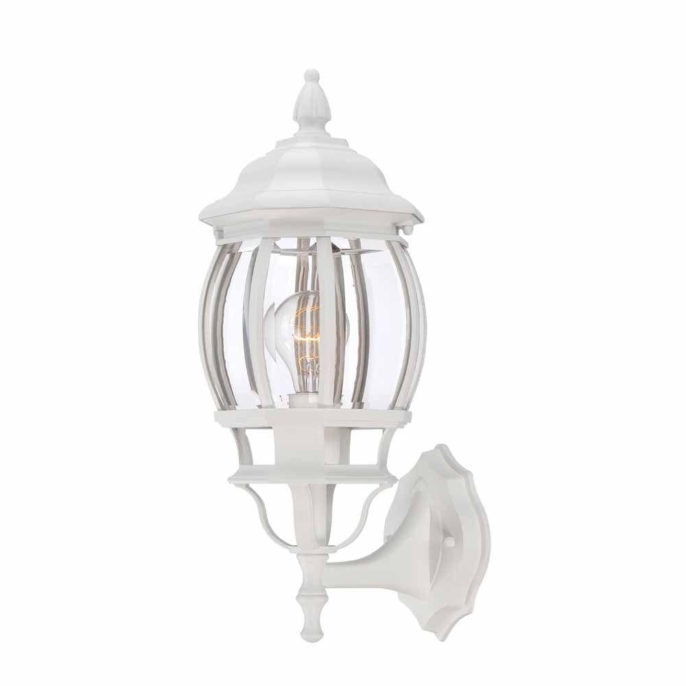2018 White Outdoor Lanterns In Hampton Bay 1 Light White Outdoor Wall Lantern Hb7027 06 – The Home (Gallery 1 of 20)