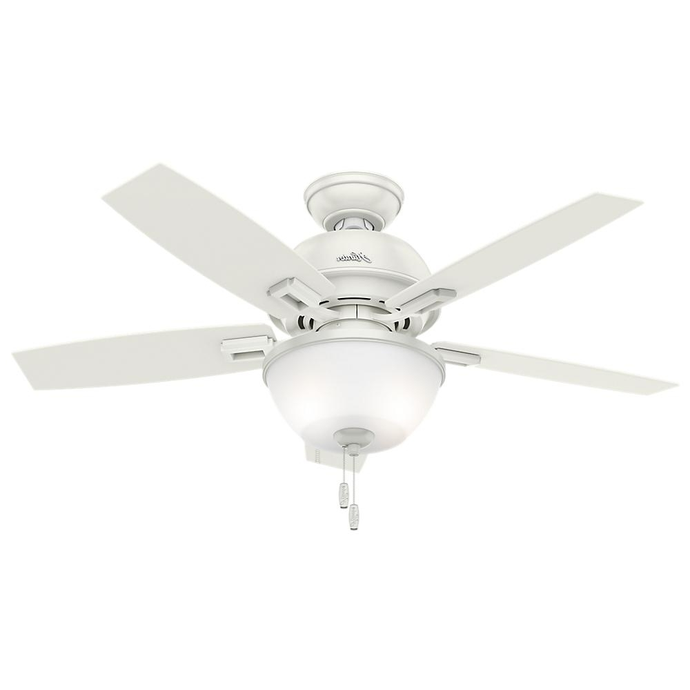 2019 48 Outdoor Ceiling Fans With Light Kit In Hunter Donegan 44 In. Led Indoor Fresh White Ceiling Fan With Bowl (Gallery 20 of 20)
