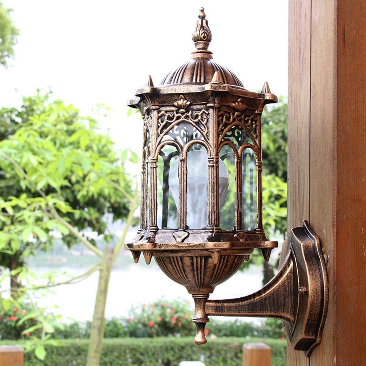 2019 Antique Outdoor Lanterns Inside Antique Exterior Wall Light Fixture Aluminum Glass Lantern Outdoor (View 13 of 20)