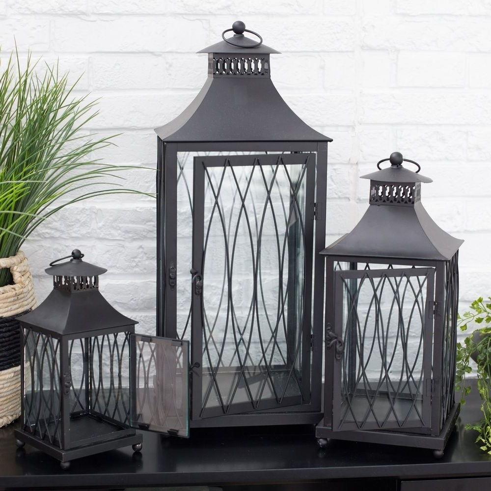 2019 Black Metal Lantern Set 3 Candle Holder Modern Decor, Outdoor Metal Regarding Set Of 3 Outdoor Lanterns (Gallery 3 of 20)