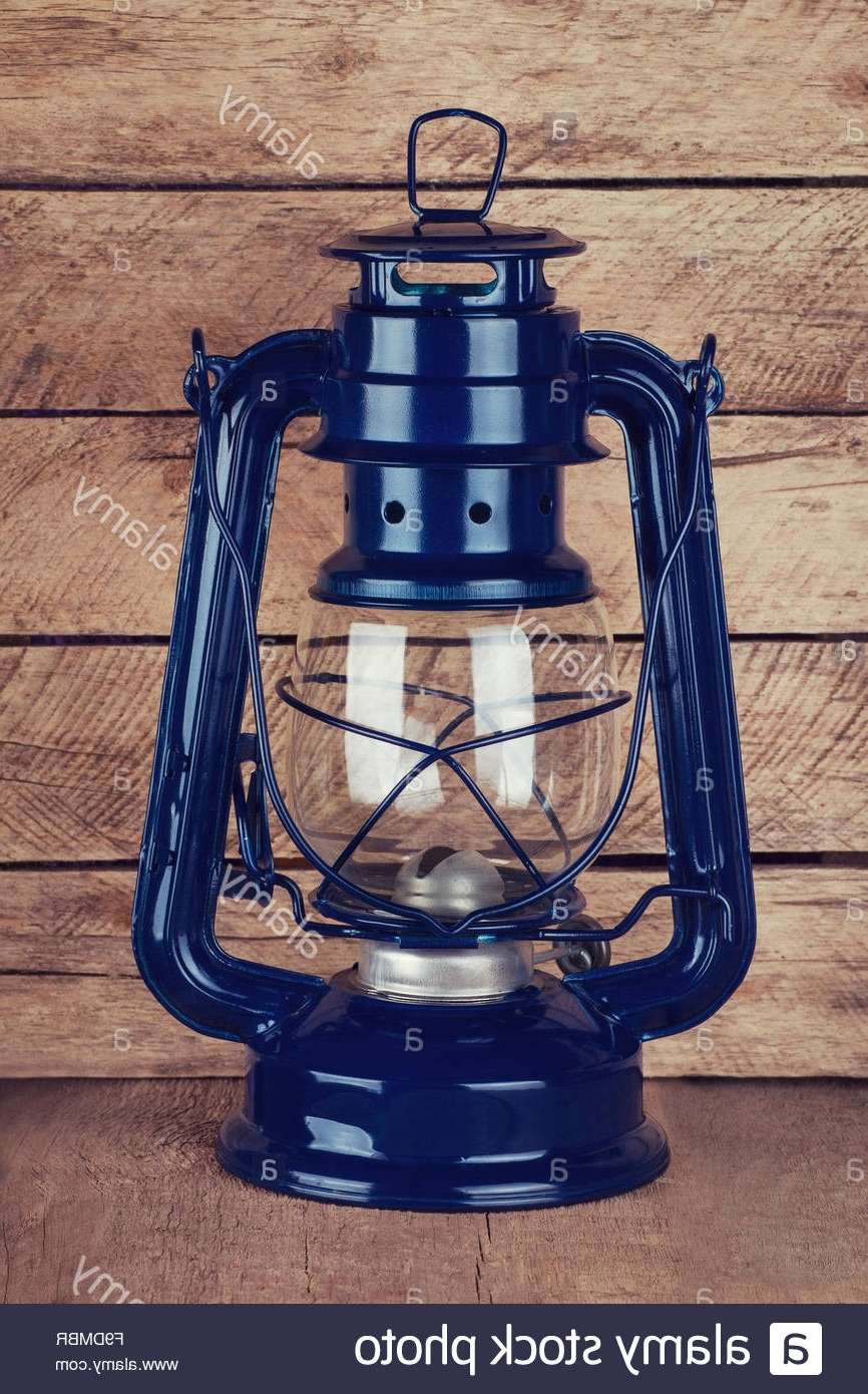 2019 Decorative Outdoor Kerosene Lanterns Intended For Decorative Blue Kerosene Lamp On Wooden Table Stock Photo: (View 9 of 20)