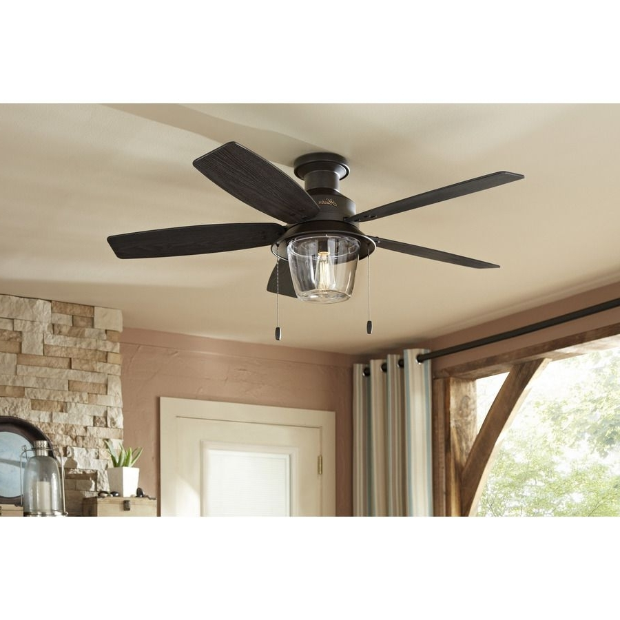 2019 Flush Mount Outdoor Ceiling Fans Pertaining To Shop Hunter Allegheny 52 In New Bronze Outdoor Flush Mount Ceiling (Gallery 14 of 20)