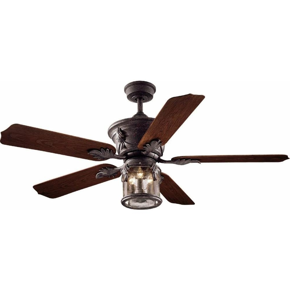 2019 Outdoor Ceiling Fans At Home Depot In Hampton Bay Milton 52 In. Indoor/outdoor Oxide Bronze Patina Ceiling (Gallery 4 of 20)