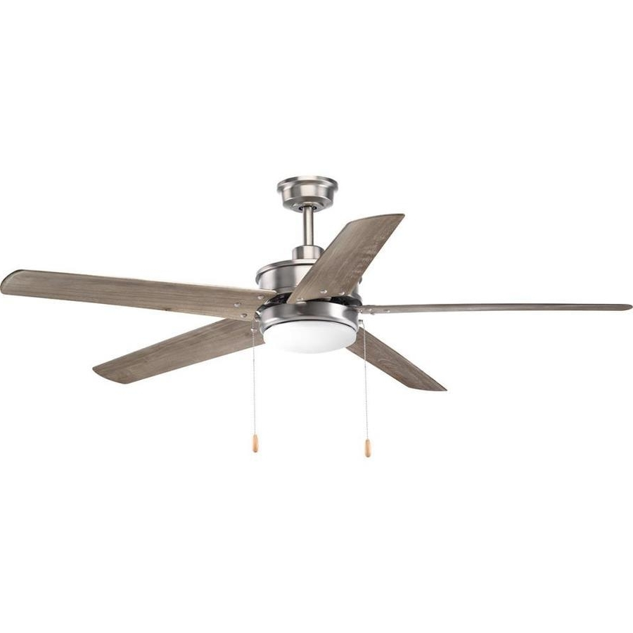 2019 Outdoor Ceiling Fans With Downrod In Nº Progress Lighting Whirl 60 In Antique Nickel Led Indoor/outdoor (Gallery 11 of 20)