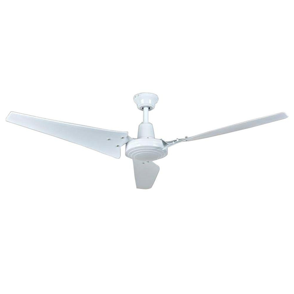 2019 Outdoor Ceiling Fans With High Cfm For Hampton Bay Industrial 60 In. Indoor White Ceiling Fan With Wall (Gallery 10 of 20)