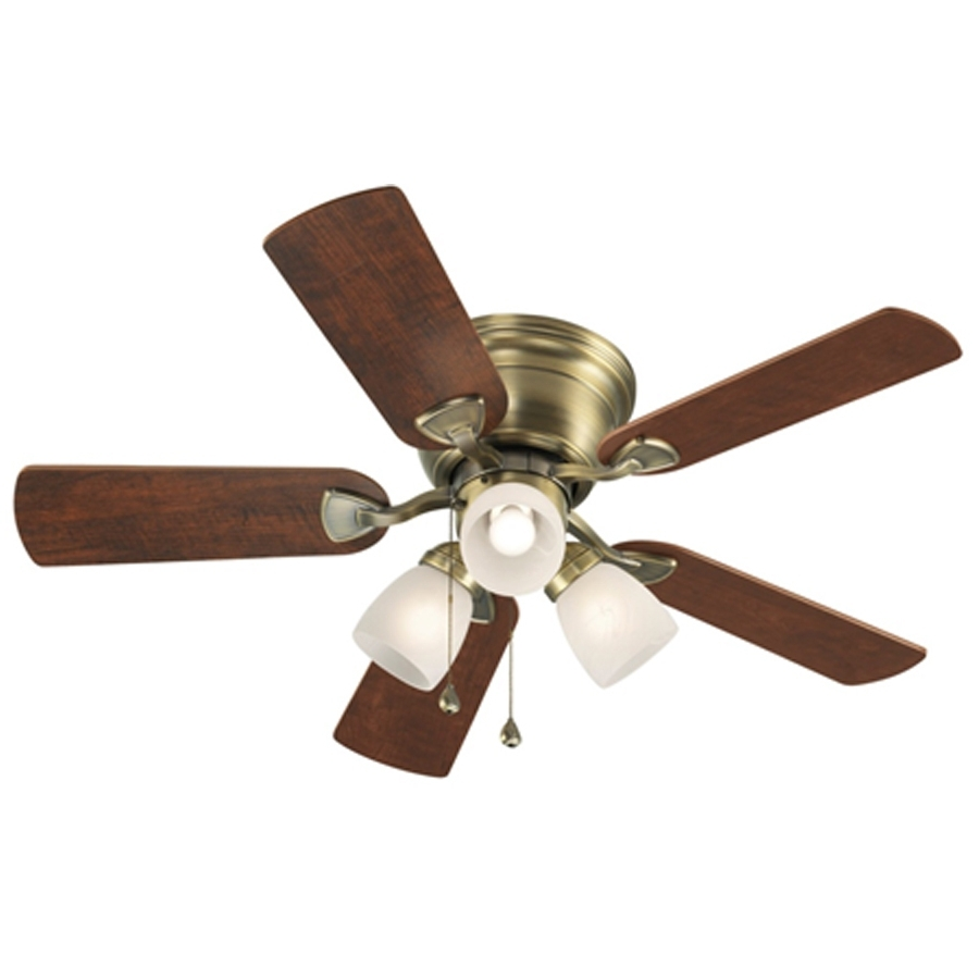 2019 Shop Harbor Breeze Centreville 42 In Antique Brass Indoor Flush With Regard To 42 Outdoor Ceiling Fans With Light Kit (Gallery 15 of 20)