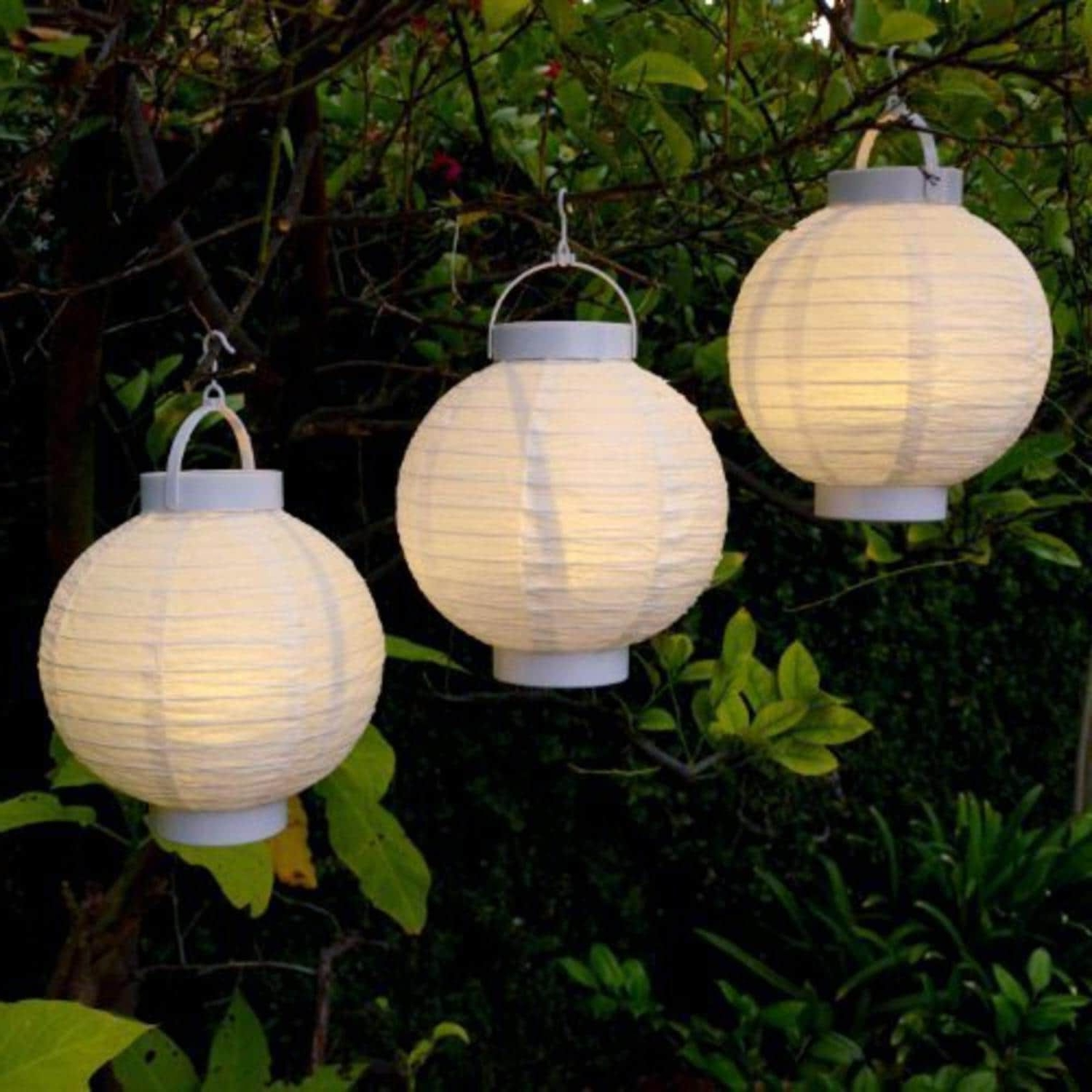 2019 Sienna Set Of 3 Battery Operated Led Lighted White Fabric Outdoor Pertaining To Outdoor Chinese Lanterns For Patio (View 2 of 20)