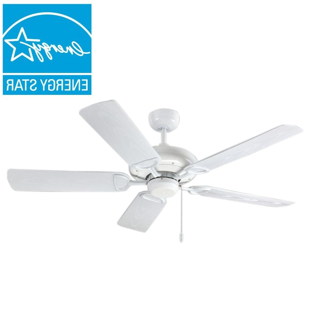 2019 White Outdoor Ceiling Fans With Lights Intended For Troposair Proseries Deluxe Builder 52 In (View 1 of 20)