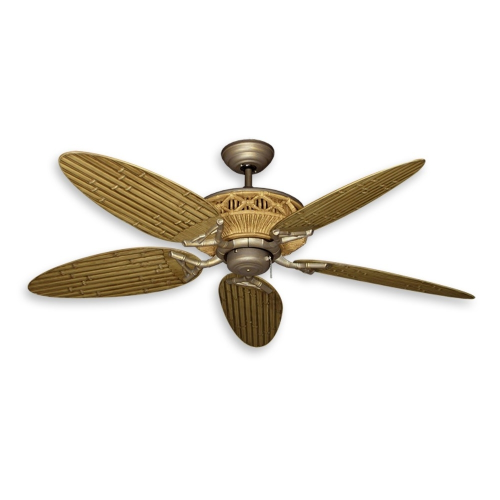 "2019 Wicker Outdoor Ceiling Fans With Lights Intended For 52"" Tiki Outdoor Bamboo Ceiling Fan – Natural Finish With Antique (View 2 of 20)"