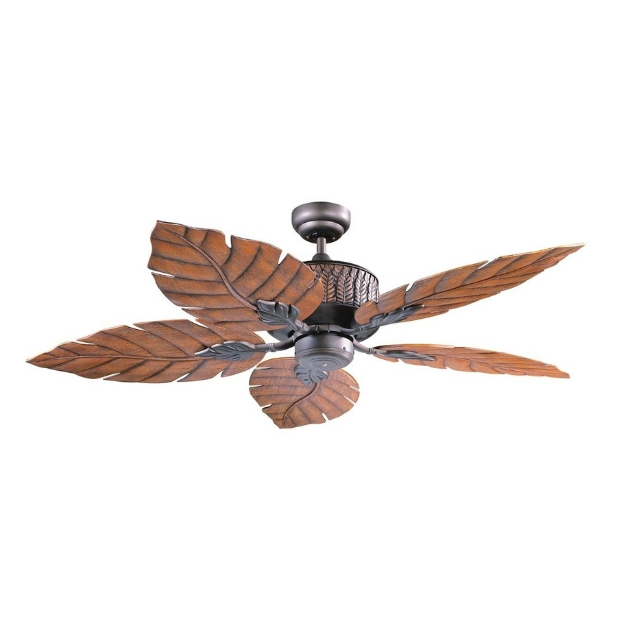 36 Inch Outdoor Ceiling Fans With Regard To Best And Newest Shop Kendal Lighting Fern Leaf 52 In Oil Rubbed Bronze Indoor (View 15 of 20)