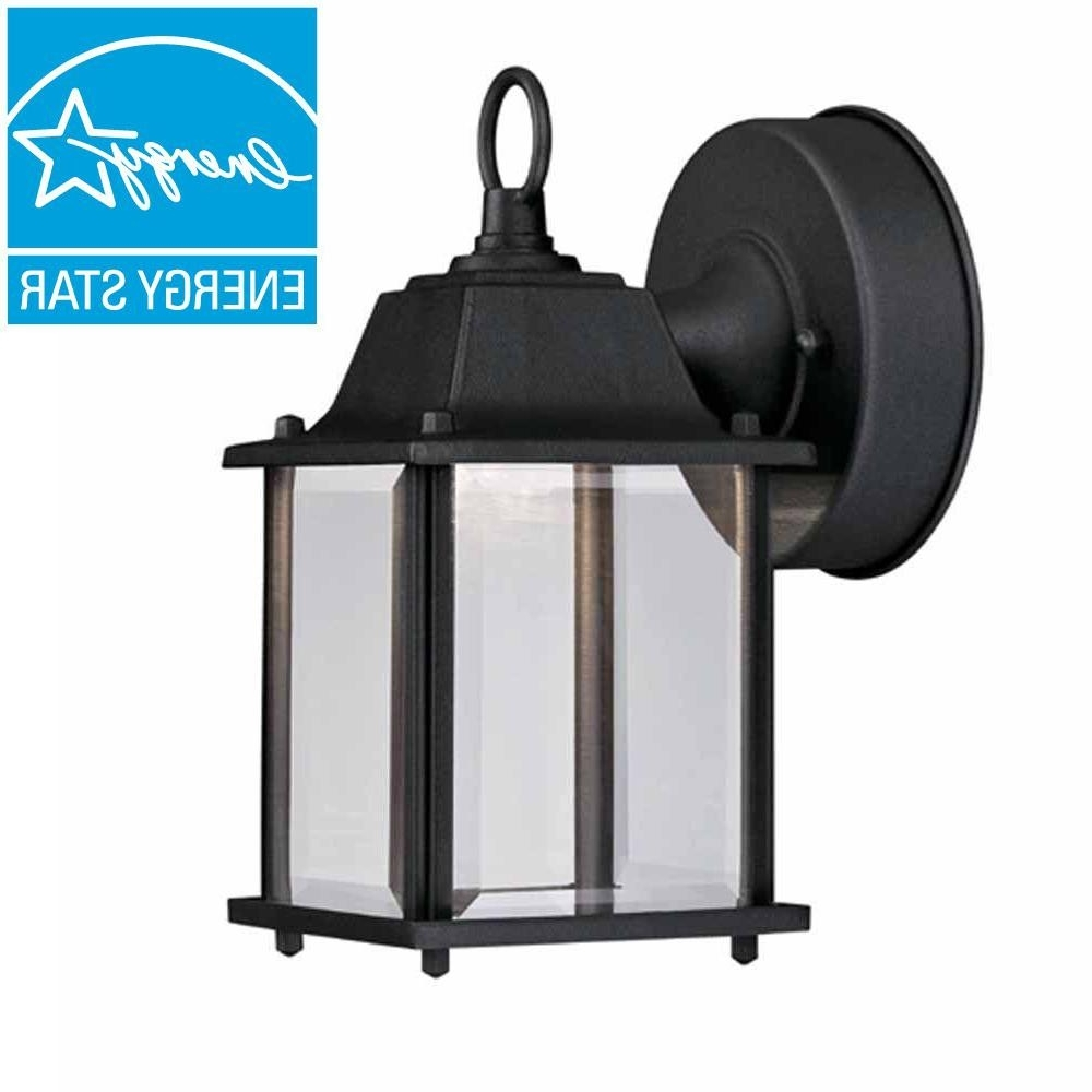 4 Pack) Hampton Bay Black Outdoor Led Wall Lantern Hb7002 05 Within Famous Black Outdoor Lanterns (View 12 of 20)