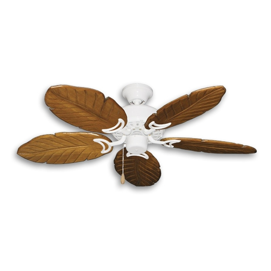 "42"" Outdoor Tropical Ceiling Fan Pure White Finish – Treated Solid With Trendy Tropical Outdoor Ceiling Fans With Lights (Gallery 20 of 20)"