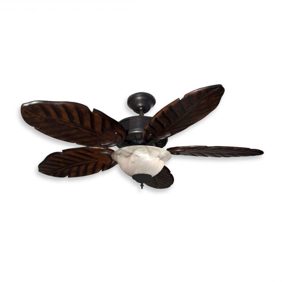 """42"""" Tropical Ceiling Fan With Light Kit – 300W Max. With Regard To Recent Outdoor Ceiling Fans With Palm Blades (Gallery 9 of 20)"""