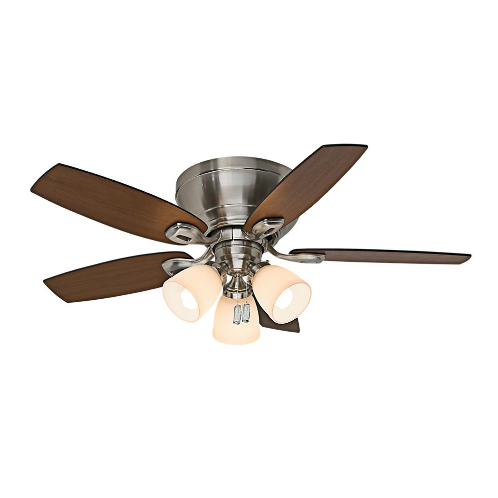 44 Inch Outdoor Ceiling Fans With Lights With Trendy Casablanca Durant 44 In. Indoor Brushed Nickel Ceiling Fan With (Gallery 8 of 20)