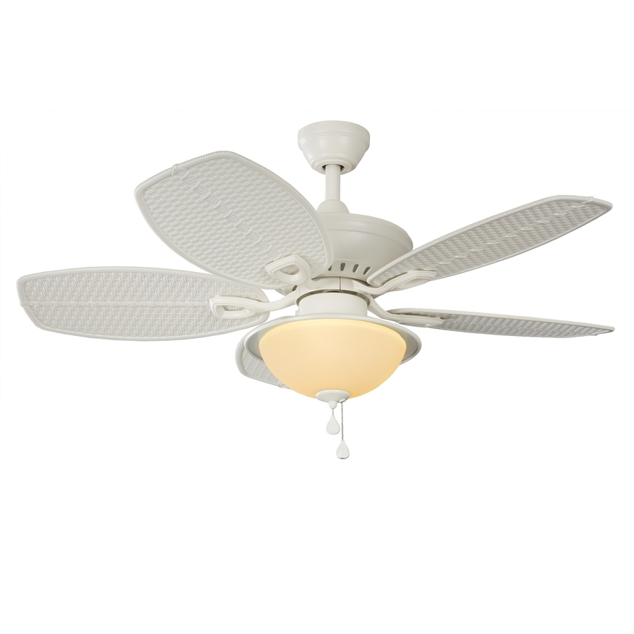 44 Inch Outdoor Ceiling Fans With Lights Within Famous Shop Harbor Breeze Cedar Shoals 44 In White Indoor/outdoor Downrod (Gallery 10 of 20)