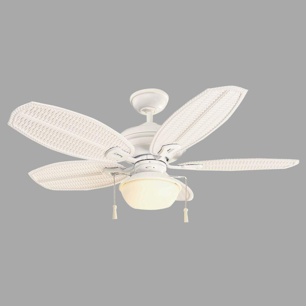 "48 Outdoor Ceiling Fans With Light Kit Pertaining To Newest Hampton Bay Palm Beach Iii 48"" Indoor/outdoor Matte White Ceiling (View 16 of 20)"