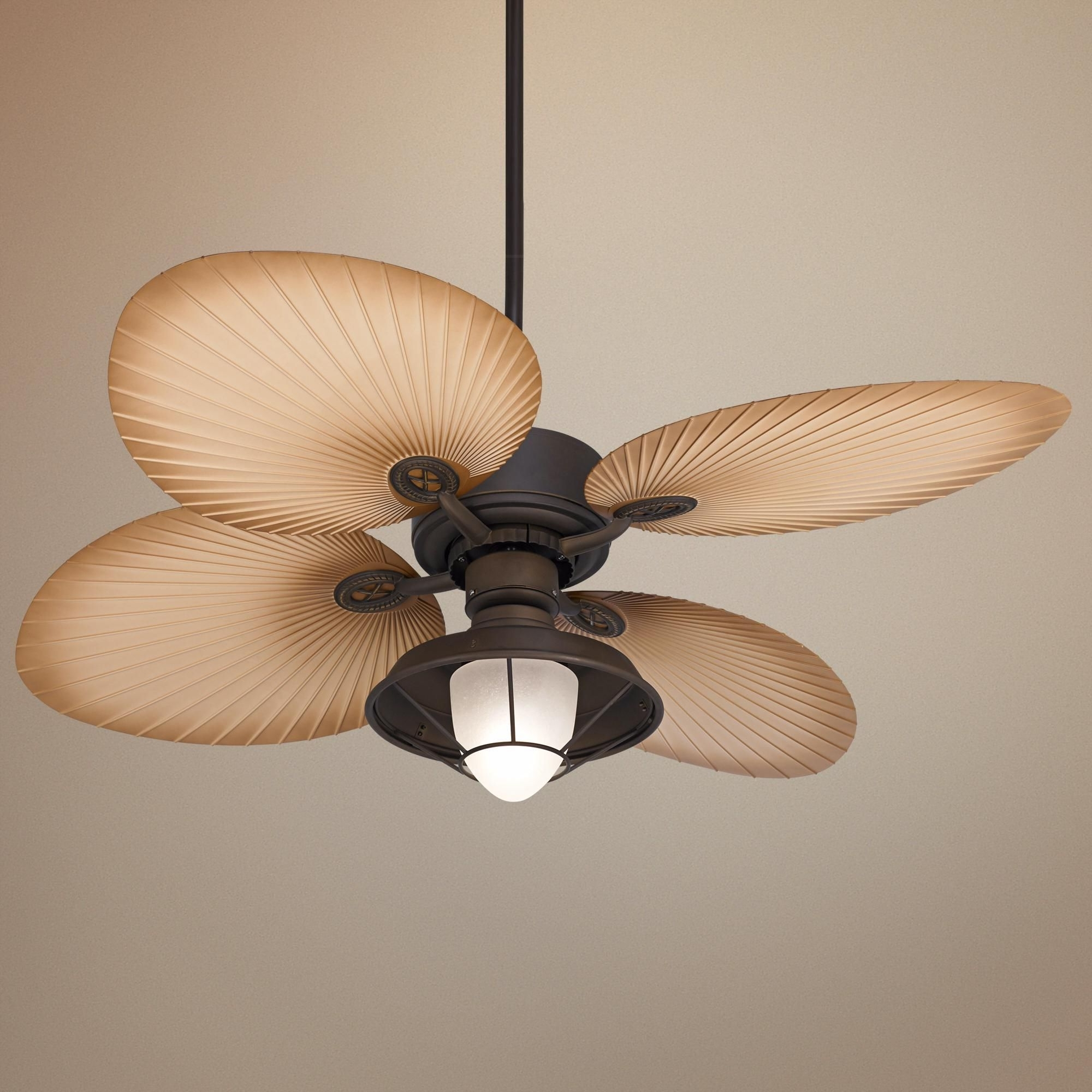 """52"""" Casa Vieja Aerostat Wide Palm Bronze Outdoor Ceiling Fan Intended For Most Current 72 Predator Bronze Outdoor Ceiling Fans With Light Kit (Gallery 16 of 20)"""