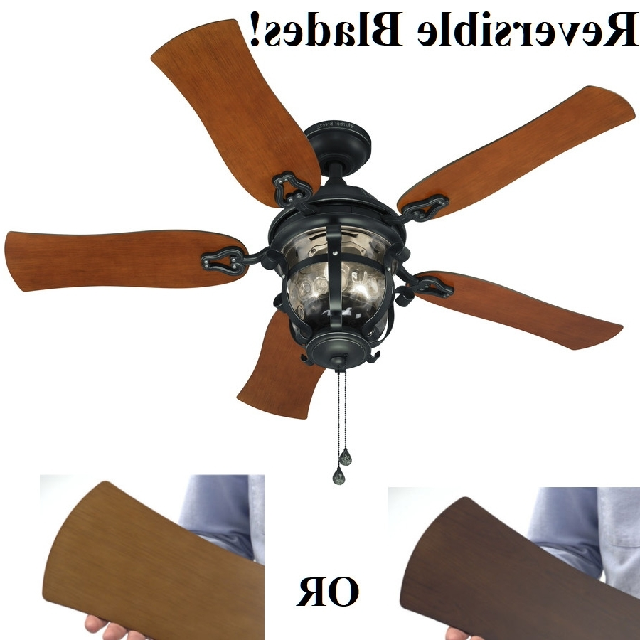 "52"" Ceiling Fan With Light Kit Aged Iron Outdoor Indoor Downrod Or Within Current Outdoor Ceiling Fans With Long Downrod (View 20 of 20)"