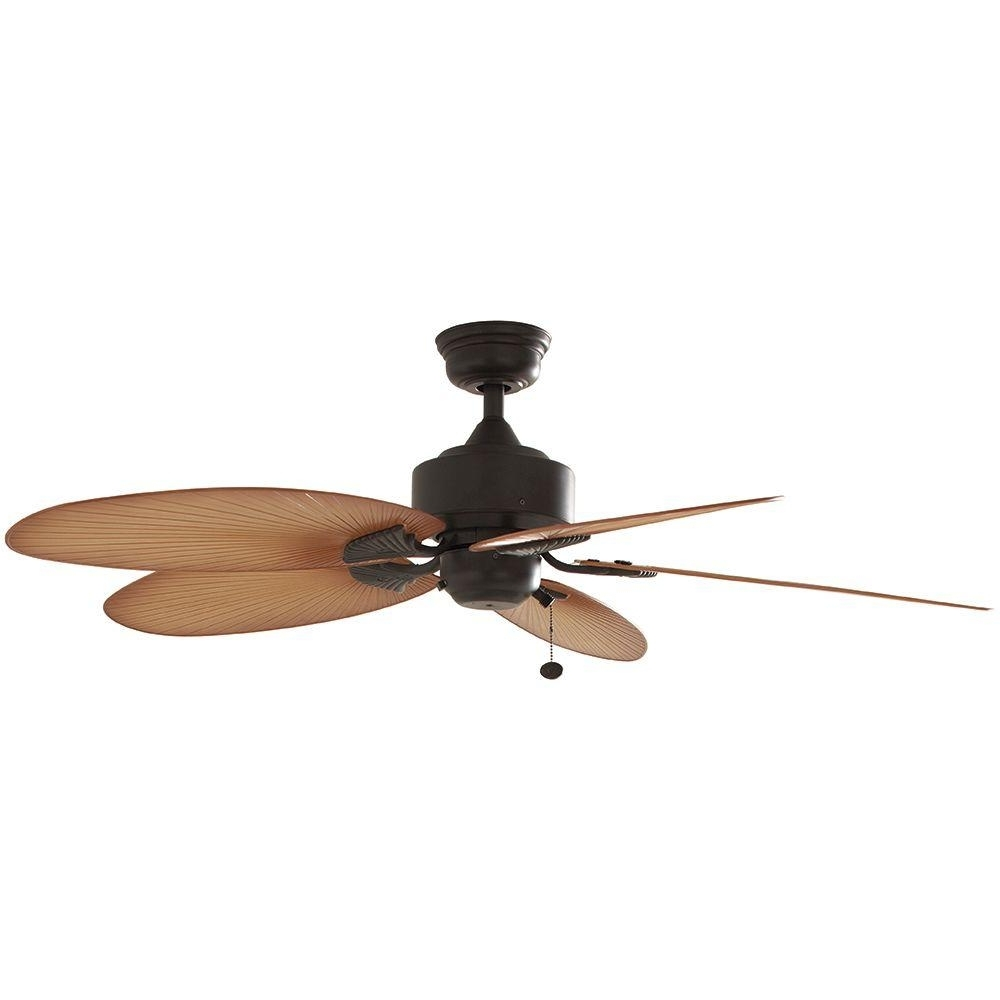 52 In. Indoor Outdoor Gazebo Porch Aged Bronze Ceiling Fan With Palm In Well Liked Outdoor Ceiling Fans For Gazebos (Gallery 11 of 20)