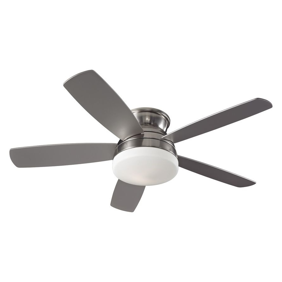 52 Inch Outdoor Ceiling Fans With Lights With Recent Shop Monte Carlo Fan Company 52 In Brushed Steel Flush Mount Ceiling (View 8 of 20)
